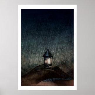"Illustrated Art Poster ""Warm When It Rains"""