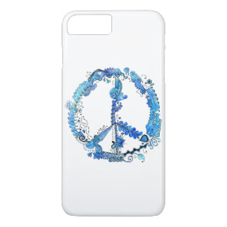 Illustrated Artsy Peace Sign Pen Art with Blue iPhone 8 Plus/7 Plus Case