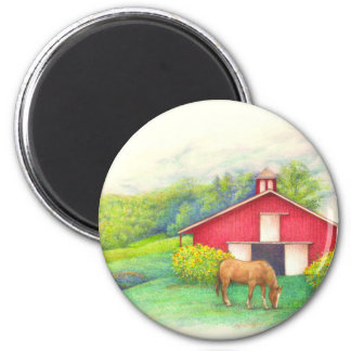Illustrated barn with horse 2 inch round magnet