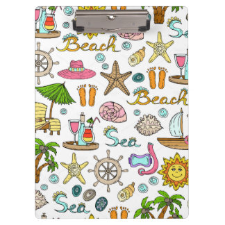 Illustrated beach and nautical patterns clipboard