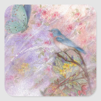 illustrated bluebird spring wedding gifts square sticker