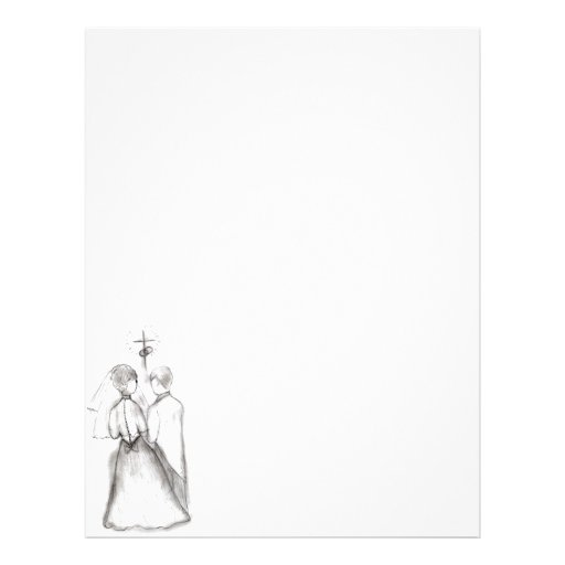 Illustrated Bride and Groom Personalized Letterhead