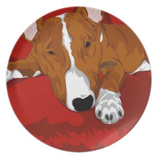 Illustrated Bull Terrier Art Plate