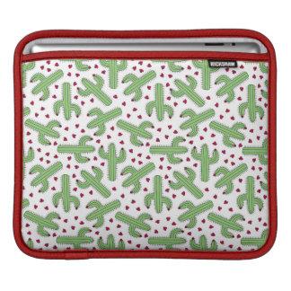 Illustrated Cactus & Pink Flowers Pattern iPad Sleeve