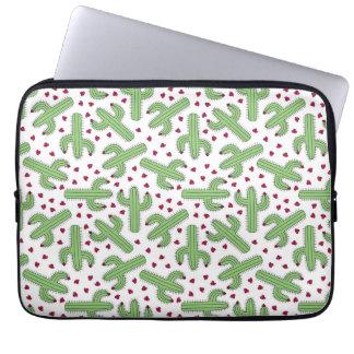 Illustrated Cactus & Pink Flowers Pattern Laptop Sleeve