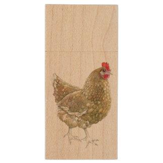 Illustrated Chicken Wooden USB Wood USB 2.0 Flash Drive