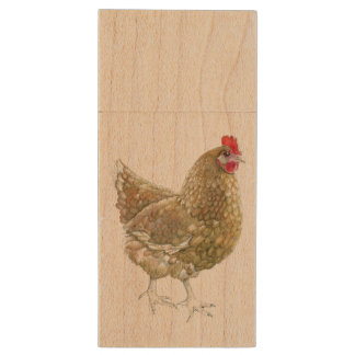 Illustrated Chicken Wooden USB Wood USB Flash Drive