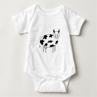 Illustrated Cow Baby Bodysuit