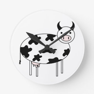 Illustrated Cow Round Clock