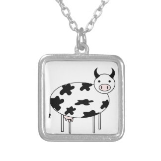 Illustrated Cow Silver Plated Necklace