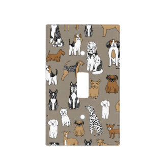 Illustrated dogs background light switch cover