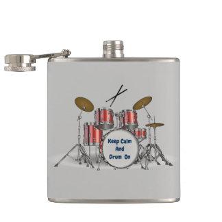 Illustrated Drum Set Hip Flask