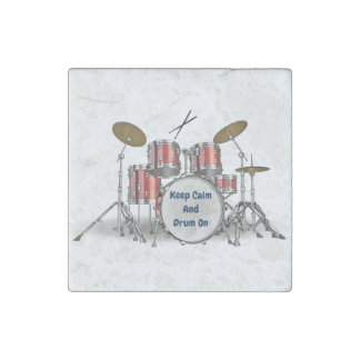 Illustrated Drum Set Stone Magnets