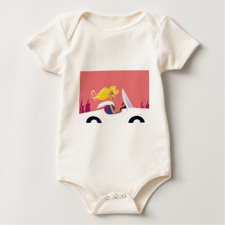 ILLUSTRATED EDITION WITH GOLD HAIR TRAVEL GIRL BABY BODYSUIT
