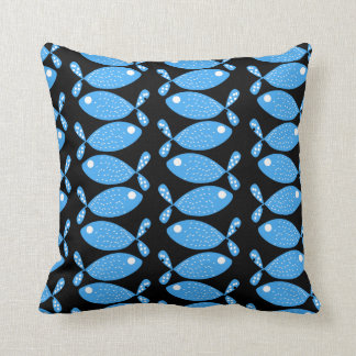 Illustrated Fish Pattern Throw Pillow