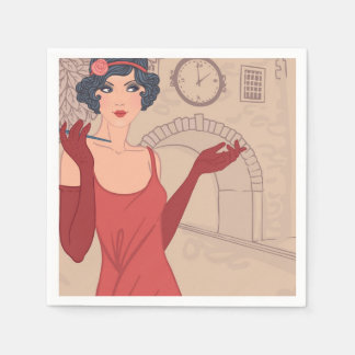 Illustrated Flapper Girl Paper Napkin