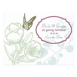 Illustrated Flora & Butterfly Spring Save the Date Postcard