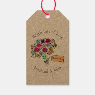 Illustrated Flower Bouquet Custom Thank You Gift Tags