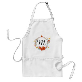 Illustrated Flower & Laurel Wreath Monogram Standard Apron