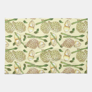 Illustrated Food Pattern: Artichokes &  Asparagus Kitchen Towel
