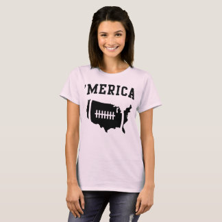 Illustrated Football in USA Shape: 'Merica T-Shirt