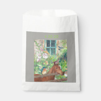 Illustrated horse and birdies favour bag