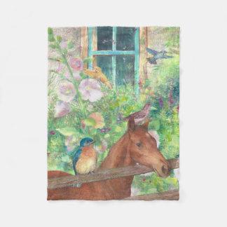 Illustrated horse and birdies fleece blanket