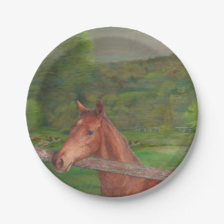 Illustrated horse Summer Meadow 7 Inch Paper Plate
