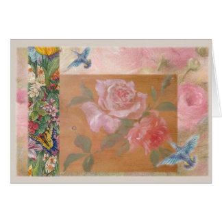 Illustrated hummingbird Fantasy Floral Card