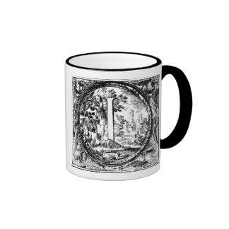 Illustrated Initial  (Italian Woodcut) Ringer Mug