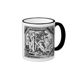 Illustrated Initial  K (Italian Woodcut) Ringer Mug