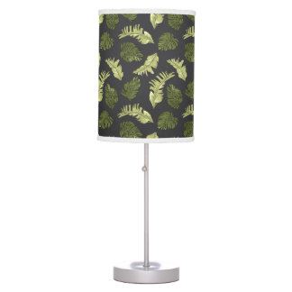 Illustrated Jungle Leaves Dark Pattern Table Lamp