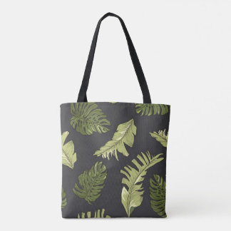 Illustrated Jungle Leaves Dark Pattern Tote Bag