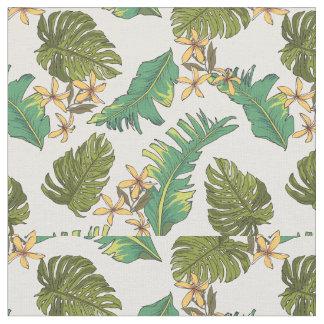 Illustrated Jungle Leaves Pattern Fabric