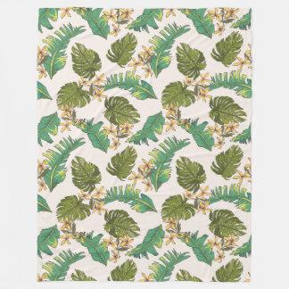 Illustrated Jungle Leaves Pattern Fleece Blanket