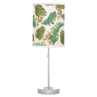 Illustrated Jungle Leaves Pattern Table Lamp