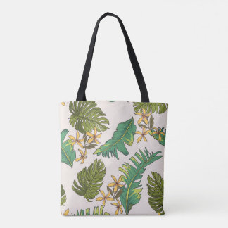 Illustrated Jungle Leaves Pattern Tote Bag