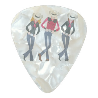 Illustrated Line Dancers Pearl Celluloid Guitar Pick
