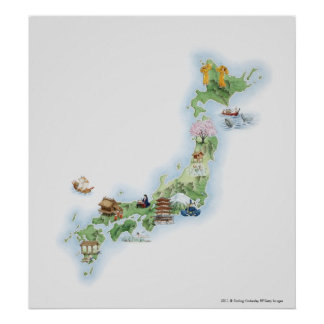 Illustrated map of ancient Japan Poster
