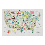 Illustrated Map of the USA Poster