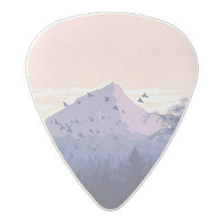 Illustrated Mountain scenery guitar pick