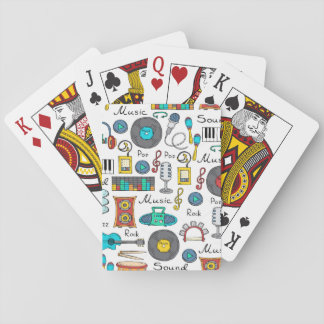 Illustrated music objects playing cards