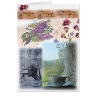 illustrated musical notes teacup collage