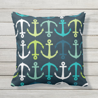 Illustrated nautical anchors outdoor pillow