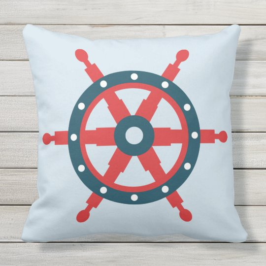 Illustrated nautical wheel outdoor pillow