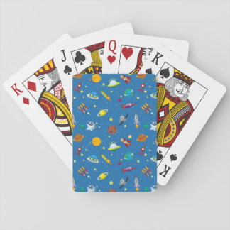 Illustrated out in space objects playing cards