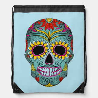 Illustrated painted skull drawstring bag