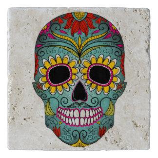 Illustrated painted skull trivet