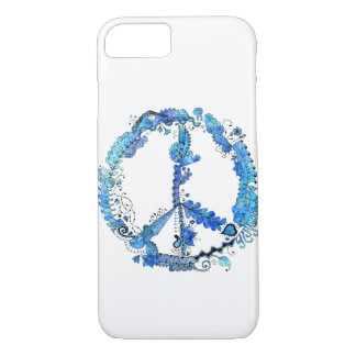 Illustrated Peace Sign Pen Art with Blue iPhone 7 Case