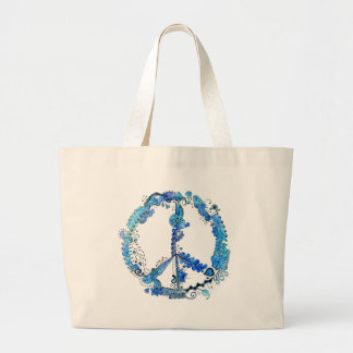 Illustrated Peace Sign Pen Art with Blue Large Tote Bag